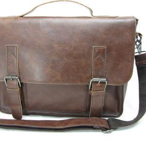 Zebella Faux Brown Leather Messenger Shoulder Bag